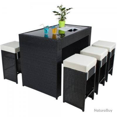 Table haute salon de jardin rotin résine tressé synthétique + 6 tabourets  rotin noir 2108014