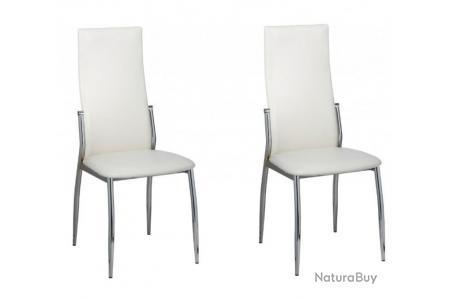 2 Chaises de cuisine salon salle à manger design blanches 1902003