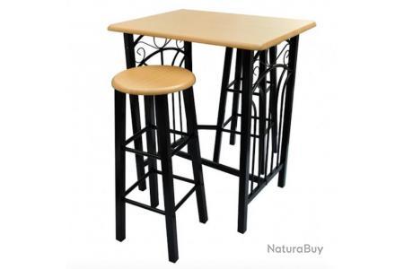 Lot De 2 Tabourets De Bar Chaise Avec Table Haute Set Bois Acier