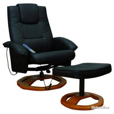 Fauteuil De Massage Confort Relaxant Massage Chauffage Massant Détente Noir  1702002