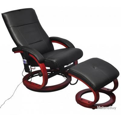 Fauteuil De Massage Confort Relaxant Massage Massant Détente Noir Avec  Repose Pied 1702010