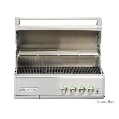 Elegant GrandHall   Barbecue à Gaz Encastrable Gris Inox 91x50,5x56cm   CROSSRAY 4B  Inox Built