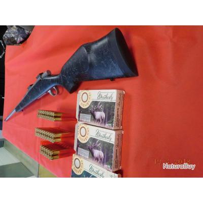 Carabine VANGUARD d'occasion 300 Weatherby Magnum, canon flûté et frein de bouche, boites de balles