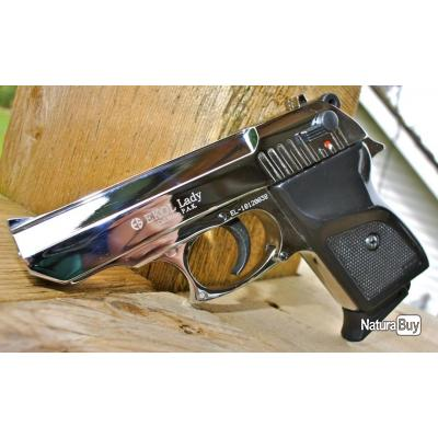 Pistolet à blanc de défense Ekol Lady Chromé calibre 9mm + Malette + Pack de 10 Munitions