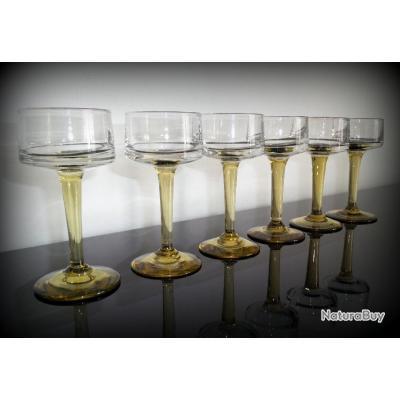Lot de 6 verres bistrot des années 30-Verres à vin blanc-Verre soufflé a282a0c2f4c5