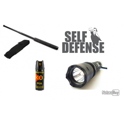 Pack Defense Matraque Telescopique Lampe Torche Taser Shocker