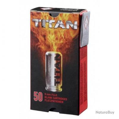 50 Balles à Blanc TITAN Calibre 9mm PAK pour pistolets