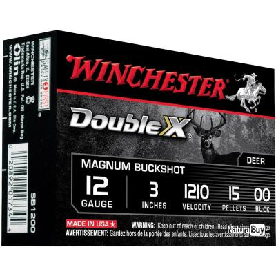 25 Cartouches Winchester Double X Chevrotine Magnum 15 grains Cal. 12/76