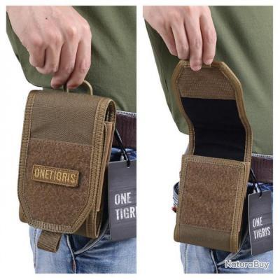 6900de7475 Sacoche téléphone portable militaire - Onetigris - mod 6 - Coyotte Brown