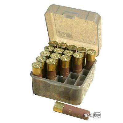 MTM S25-12M Boite à Munitions Calibres 10/12 Jusqu'à 89MM 25 Munitions Fumé Transparent