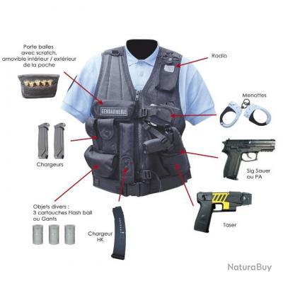 Gilet force intervention avec holster PA ou taser (DROITIER ou GAUCHER)