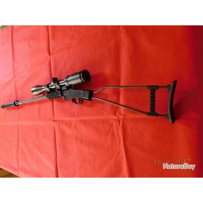 Carabine 22LR d'occasion Chiappa Mono-coup, lunette 3X9X40, modérateur de son