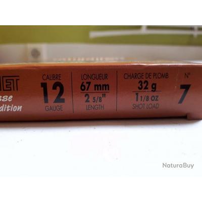 TUNET - boite neuve 10 cartouches 12/67 n°7 n°9 n°10 et n°12