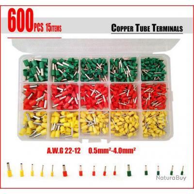 Ensemble 600 embouts de câblage de 0.5 à 4 mm°