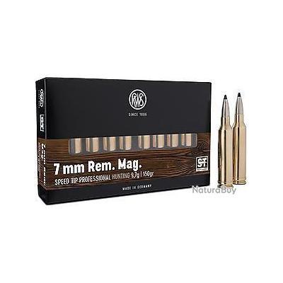 1 BOITE DE MUNITIONS CHASSE RWS CAL: 7mm REM MAG SPEED  TIP PRO  9.7GR