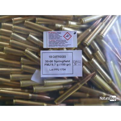 100 Munitions Balles Cartouches 30-06 30.06 Boxer PPU Partizan 150 gr FMJ BT