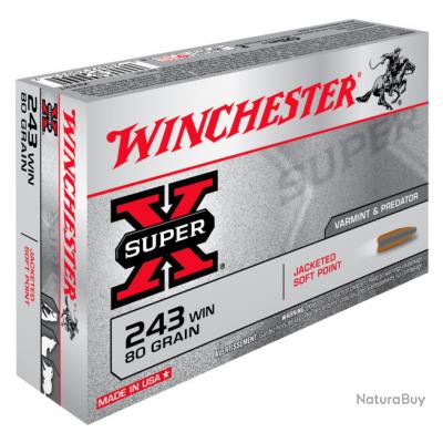 BOITE DE 20 BALLES WINCHESTER - CALIBRE 243 WIN - SUPER X POWER POINT  - 80GR