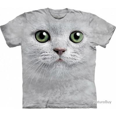 61c4053bf1435f T-shirt tête de chat aux yeux verts - The Mountain Gris L - Tee ...