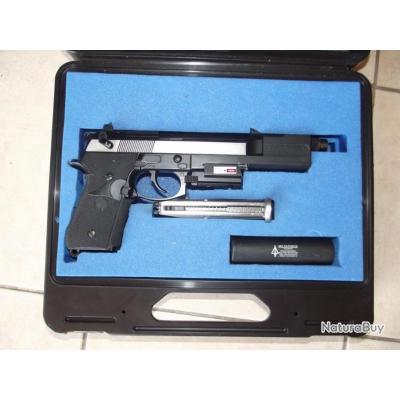 BRADE - PA BERETTA M9A1 Mod 1 Full métal à gaz + laser, frein de bouche,  silencieux, mallette TBE