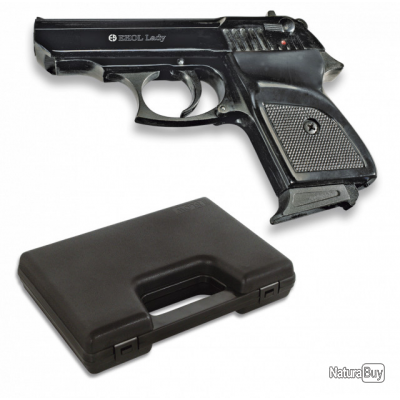 PROMO! Pistolet à blanc Ekol Lady calibre 9mm + Malette + Munitions Couleur Noir Brillant