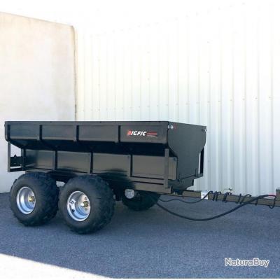 Remorque agricole benne hydraulique double essieux PTC 1,2 T