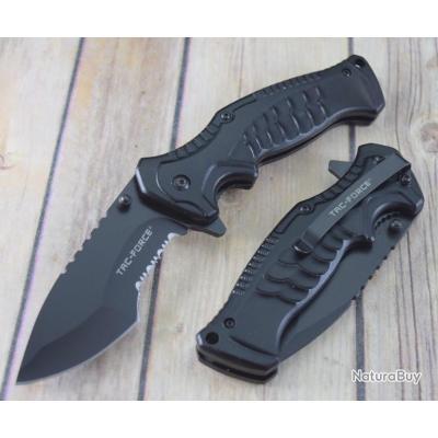 Couteau Tactical Tac-Force A/O Lame Acier 3Cr13 Serrated Manche Black Aluminium TF993BK