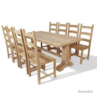 Table Et Chaises De Salle A Manger Massives 9 Pieces Teck Mobilier