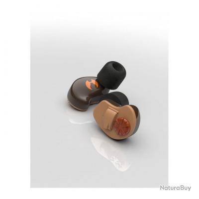 Oreillettes WIRELESS marron pour radio Icom F34/F44/F22SR/F11 2 pin 90° with screws - SHOTHUNT