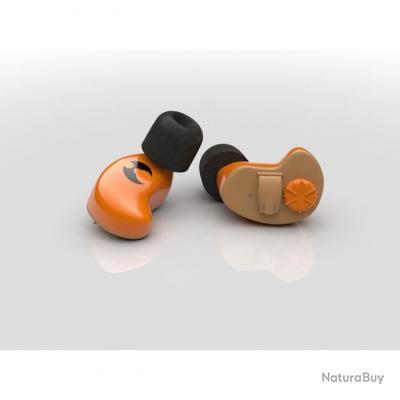 Oreillettes WIRELESS orange pour les modèles radio 3,5 mm plug for iPhone, Samsung - SHOTHUNT