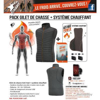 GILET DE CHASSE ACTI HEAT XS + SYSTEME CHAUFFANT ? STAGUNT ? TAILLE XL