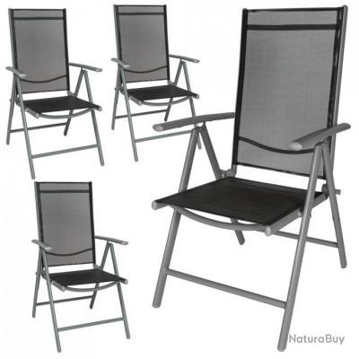 4x Chaise de jardin en aluminium Chaise de camping Chaise pliante à ...