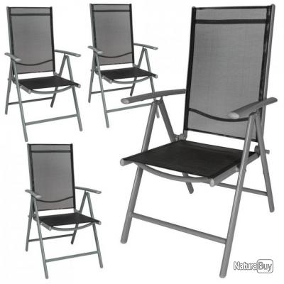 4x Chaise De Jardin En Aluminium Chaise De Camping Chaise Pliante A
