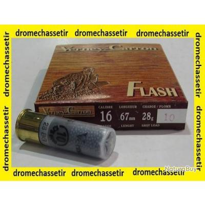 boite de 10 cartouche verney carron Flash bourre grasse calibre 16/67 , 28 grammes, plombs 10