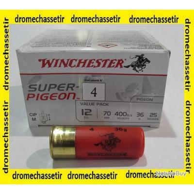 Boite de 25 cartouches Winchester super pigeon , cal 12/70  bourre jupe , 36 grammes, Numero 4