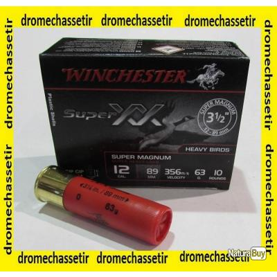 boite de 10 cartouches Winchester Super Magnum XX , cal 12/89  bourre jupe , 63 grammes, Numero 0
