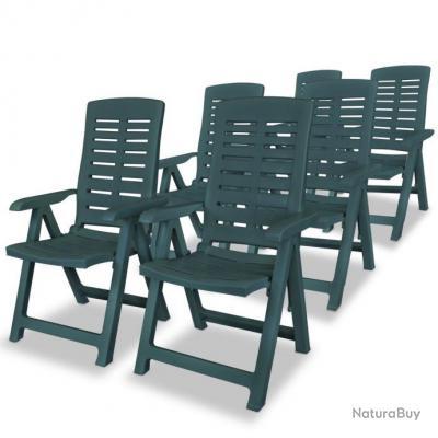 Chaise inclinable de jardin 6 pcs 60x61x108 cm Plastique Vert ...