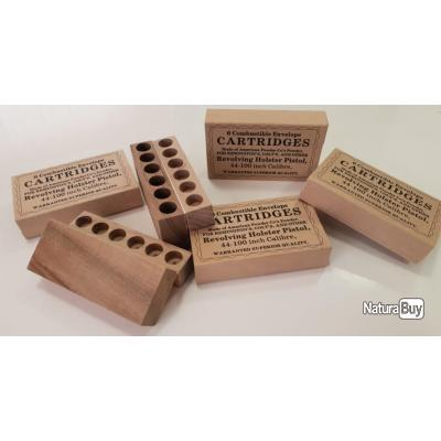 1 Boite bois de 6 Cartouches Papier Combustible Cal .44 Révolver prix promotionnel très bas