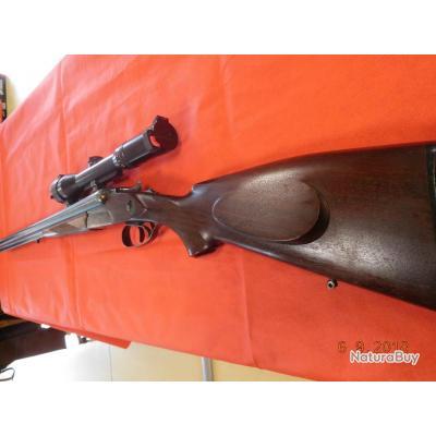 Drilling d'occasion 63 cm Merkel jaspé, calibre 12/70  6,5x57R, lunette Schmidt&Bender, bon état,