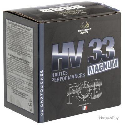 LOT DE 5 BOITES DE 25 CARTOUCHES DE CHASSE FOB HV33 MAG cal.12-76 N°3A