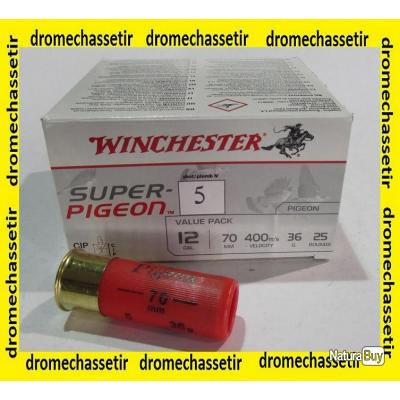 lot de 200 cartouches Winchester super pigeon , cal 12/70  bourre jupe , 36 grammes, Numero 5