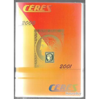 cérès 2000 2001 catalogue de timbres poste en couleur , cote euros et francs