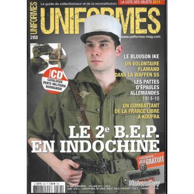 revue uniformes n°288 le 2eme bep en indochine, épaulettes allemandes 1914-18, blouson ike