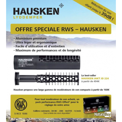 SILENCIEUX HAUSKEN JD 224 Calibres 270/ 30-06 .30/.308/ 300 wm + 1 Pack Performance RWS
