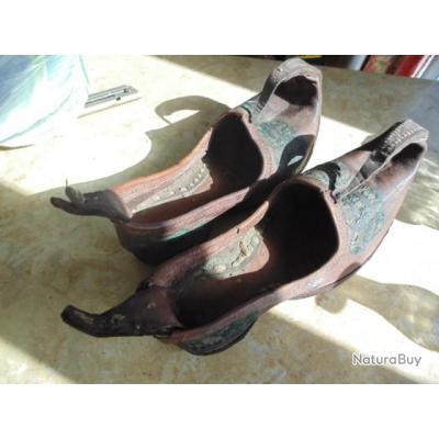 sandales homme chaussure Asie centrale XIX° empire Russe Turkmenistan  Azerbadjian Kyrgystan Russie