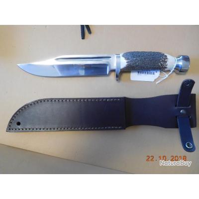 EL Abuelo dague bois de cerf, lame 17cms, fourreau,