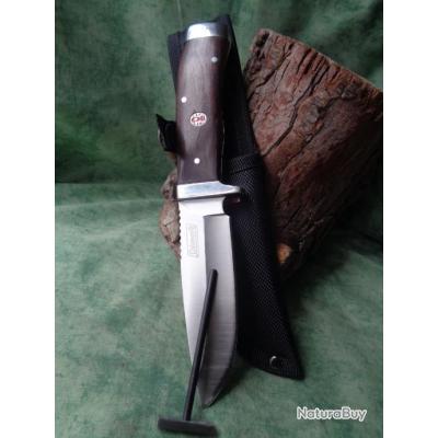 Couteau Chasse Couteau de Survie Coleman Campfire + Start Fire Lame Acier 3Cr13 Manche Bois NWD006