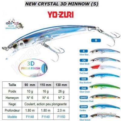 CRYSTAL 3D MINNOW (S) YO-ZURI 9 cm Silver Blue (B)