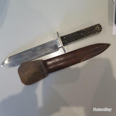 """Couteau de chasse a manche en corne  """" George Butler et C° - Trinity Works Sheffield England"""