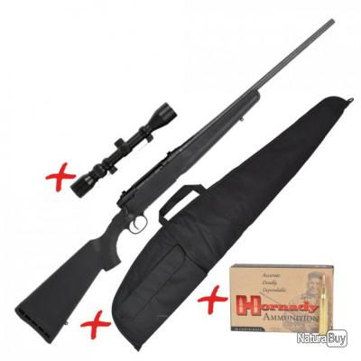 Carabine Filetée cal.30-06 SPG Savage® Axis + fourreau + lunette + 20 balles
