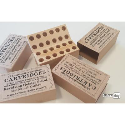 1 Boite bois de 12 Cartouches Papier Combustible Cal .36 Révolver  prix promotionnel très bas